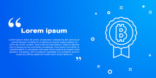 White Line Cryptocurrency Coin Bitcoin Icon Isolated On Blue Background. Physical Bit Coin. Blockchain Based Secure Crypto Currency. Vector.