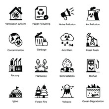Pack Of Industrial Pollution Glyph Icons