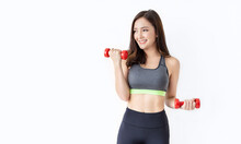 Portrait Of Young Asian Attractive Fitness Woman Holding Dumbbell Studio Shot White Background. Sport Ware Girl Workout With Strong Beautiful Slim Fit Body Shape, Asia Lifestyle Stay Home Concept