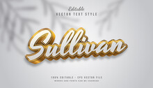 Sullivan Text With White And Gold Gradient In 3d Style