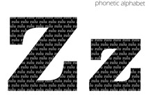 Z (zulu) 3d Illustration Phonetic Alphabet Design For Decoration In Black And White