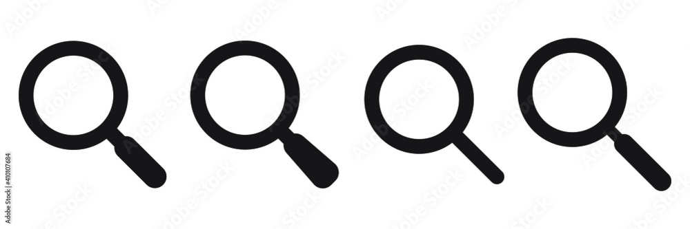 Fototapeta Search icon. Magnifying glass icon, vector magnifier or loupe sign.