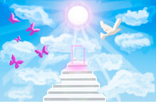 3D - Rendering. White Steps Rise Above The Clouds Towards The Sun. At The End There Is A Luminous Entrance. Pink Butterflies And A White Dove Are Flying.