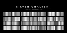 Collection Of Silver Foil Texture Background. Metal Gradient Template. Vector Illustration