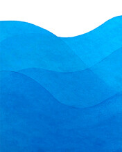 Watercolor Blue Background, Waves, Abstract , Backdrop. Vector Illustration For Your Design.