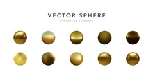 Set Of Gold Sphere Isolated On White Background. Vector Illustration
