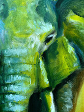 Oil Painting Of An Elephant Face Close Up, Colorful Abstract Painting