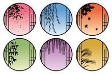 和室の丸窓から見える四季の植物