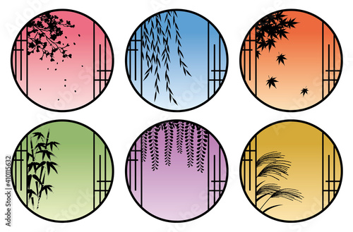 Stampa su Tela 和室の丸窓から見える四季の植物