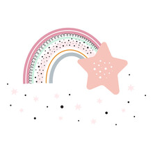 Children Card With Cute Rainbow And Star