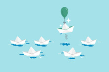 Think Different, Innovation To Change From Routine Traditional Thinking Concept, Stand Out Origami Paper Boat Flying With Air Balloon In Different Path Instead Of Follow Others.
