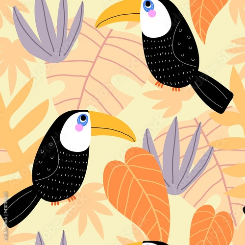Fototapeta premium Summer seamless pattern with cartoon toucans, tropical leaves, decor elements. Colorful vector, flat style, hand drawing. baby design for fabric, print, nursery wallpaper, textile