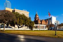 Dealey Plaza, City Park Inside Elm St., Dallas, Texas. Site Of President John Fitzgerald Kennedy Assassination In 1963.
