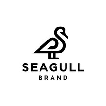 Seagull Line Icon Logo Vector Design In Trendy Minimal Simple Mono Line Art Style