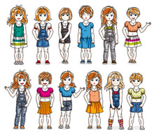 Cute Little Child Girls In Different Casual Wear Standing In Full Length And Posing Vector Illustrations Isolated Big Set, Happy Beautiful Kids Drawings Collection, People Diversity Children.
