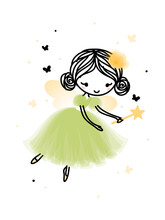 Cute Forest Fairy Flying In Pretty Dress Surrounded By Butterflies And Sparks. Hand Drawn Cartoon With Adorable Little Girl With Wings. Simple Vector Illustration Isolated On White. Editable Stroke