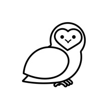 Barn Owl Outline Icon. Clipart Image Isolated On White Background.