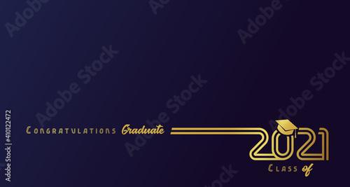 Fotografia Class of 2021 with graduation cap, golden lines design