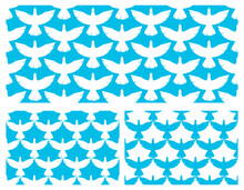 Flying Blue Birds Seamless Vector Wallpaper Set, Endless Background Pattern With Doves In The Sky, Freedom Eagle Theme, Beautiful Picture.