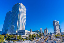 Scenery Of Makuhari New City, Chiba Prefecture, Japan. Makuhari Is A New Business District Near Tokyo.