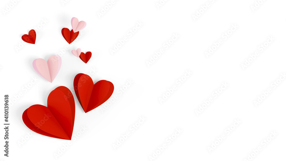 Fototapeta Valentine Day background. Red, pink paper hearts on white background, top view image. Romantic celebration card, flat lay decoration isolated on white. Greeting card concept.