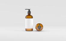 Amber Glass Bottle- Cosmetic - Soap Dispenser- Pump - Mockup 3D Illustration