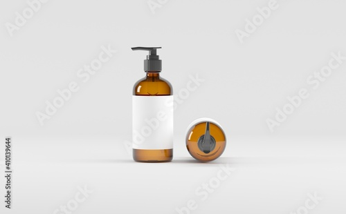 Canvas Print Amber Glass Bottle- Cosmetic - Soap Dispenser- Pump - Mockup 3D illustration