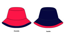Outside And Inside Bucket Hat Design Pink-Navy Vector.