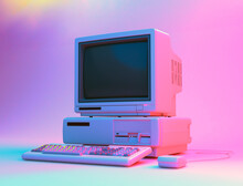 Vintage Desktop PC With Floppy Drive, Keyboard And Mouse In Neon Lightning. 3D Rendering.