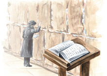 Book Of The Torah  Is Open On The Prayer Table On The Background Of Western Wall In Jerusalem, Israel. Hand Drawn Watercolor Illustration, Isolated On White Background