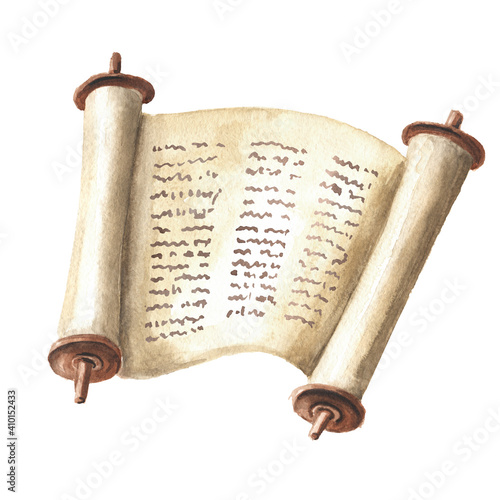 Fototapeta Open Torah scroll with the text of the Bible, the Pentateuch of Moses, the totality of the Jewish traditional religious law. Hand drawn watercolor illustration, isolated on white background obraz