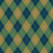 Argyle Pattern In Blue, Green, Gold. Wallpaper Autumn Classic Vector Argyll Dark Graphic For Gift Wrapping, Socks, Sweater, Jumper, Digital Paper, Other Modern Fashion Textile Or Paper Print.