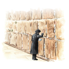 Orthodox Jew Prays At The Western Or Wailing Or Crying Wall In Jerusalem, Israel. Hand Drawn Watercolor Illustration, Isolated On White Background