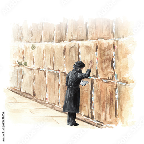 Canvas-taulu Orthodox Jew prays at the Western or wailing or crying Wall in Jerusalem, Israel
