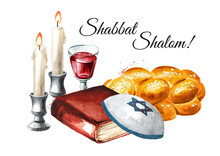 Shabbat Shalom Card, Traditional Jewish Celebration Oh The Shabbat, Challah, Candles, Torah Book And Wine. Hand Drawn Watercolor Illustration Isolated On White Background