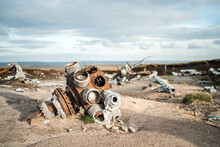 Abandoned B29 WW2 American Airforce Bomber Overexposed Crash Site On Bleaklow Moor With Rusty Aircraft Engine Parts And Aeroplane Landing Gear Wheels Wreckage Strewn Across Peak District Landscape