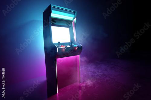 Leinwand Poster Neon pink and cyan glowing retro games arcade machine background