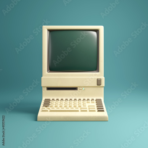 Fotografia Retro 1980's style beige desktop computer and built in screen and keyboard