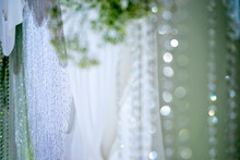Silver Pearl Curtain Blur Abstract Bokeh Background