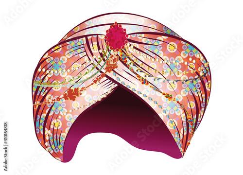 märchenhafter prächtiger roter Turban mit Juwelen Fototapet