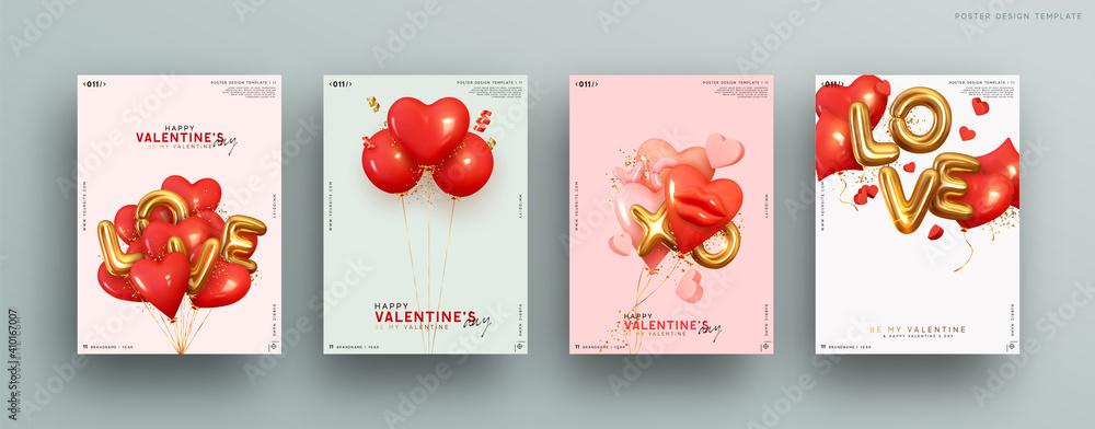 Fototapeta Valentines day. Romantic set vector backgrounds. Festive gift card templates with realistic 3d design elements. Holiday banners, web poster, flyers and brochures, greeting cards, group bright covers