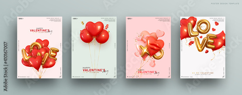 Fototapeta Valentines day. Romantic set vector backgrounds. Festive gift card templates with realistic 3d design elements. Holiday banners, web poster, flyers and brochures, greeting cards, group bright covers obraz