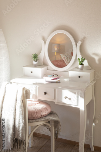 Canvas Print Detail of makeup dressing table with large mirror, diary and organizer