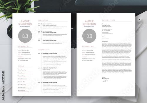 Obraz Minimalist resume cv template with cover letter - fototapety do salonu