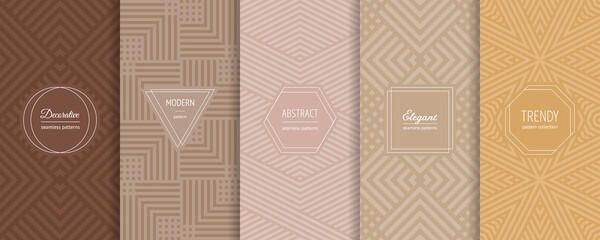 Geometric seamless patterns. Vector set of stylish pastel backgrounds with elegant minimal labels. Abstract modern line ornament textures. Trendy nude color palette. Design for print, decor, package