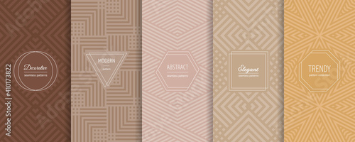 Obraz Geometric seamless patterns. Vector set of stylish pastel backgrounds with elegant minimal labels. Abstract modern line ornament textures. Trendy nude color palette. Design for print, decor, package - fototapety do salonu