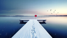 Eiskalter Morgen Am Steg