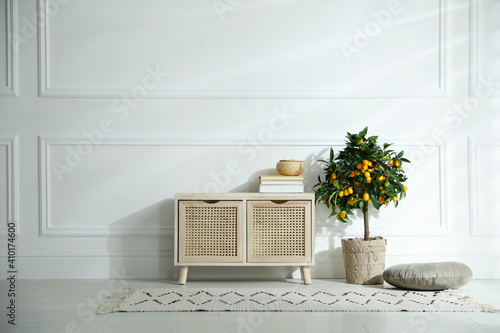 Obraz Wooden commode near white wall in room. Interior design - fototapety do salonu
