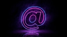Pink And Blue Neon Light @ Icon. Vibrant Colored Email Technology Symbol, Isolated On A Black Background. 3D Render