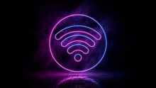 Pink And Blue Neon Light Wifi Icon. Vibrant Colored Wireless Technology Symbol, Isolated On A Black Background. 3D Render